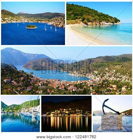 collage of Ithaca Ionian islands Greece - greek summer photos