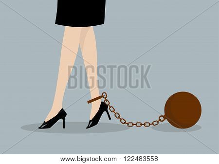 Chained business woman. Business burden concept isolated on gray background