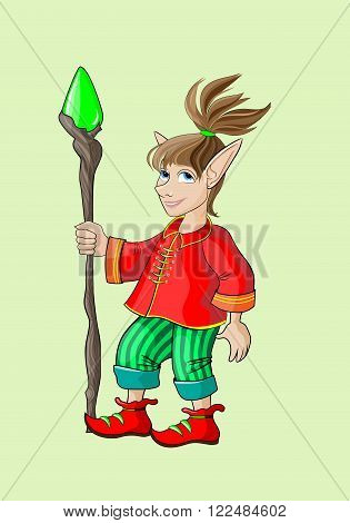 Fairy elf in a red shirt with a stick