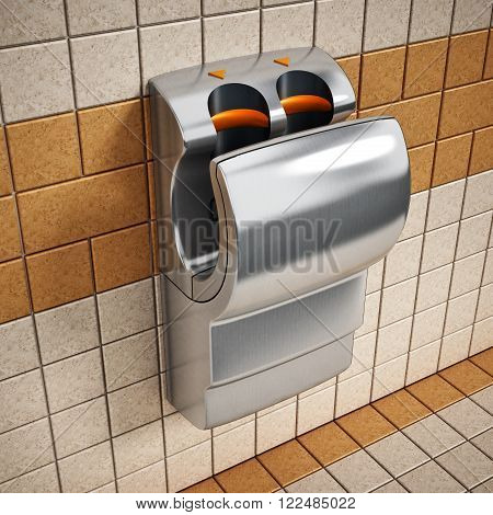 Hand dryer hanging on the public restroom wall