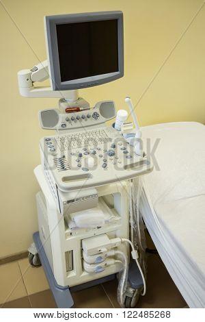 Modern ultrasonography apparatus at the rehabilitation center.