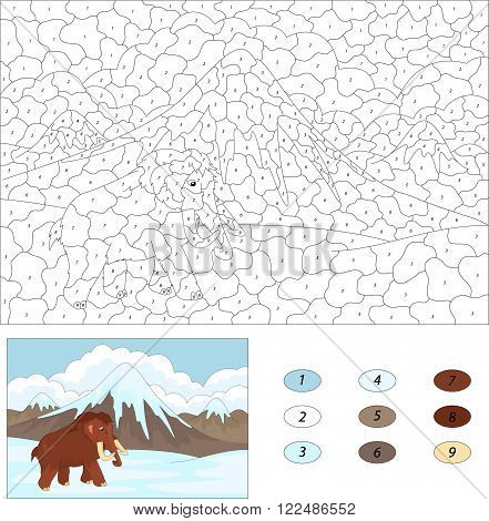 Cartoon Mammoth On The Background Of The Nature Of The Ice Age. Color By Number Educational Game For