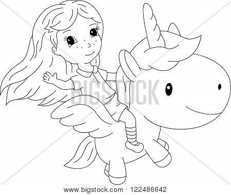 Long-haired Girl Flying On A Fairy Unicorn
