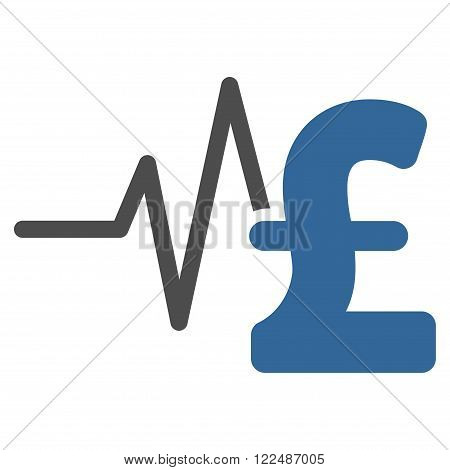 Pound Financial Pulse vector icon. Pound Financial Pulse icon symbol. Pound Financial Pulse icon image. Pound Financial Pulse icon picture. Pound Financial Pulse pictogram.