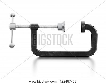 Open vice isolated on reflective white surface poster