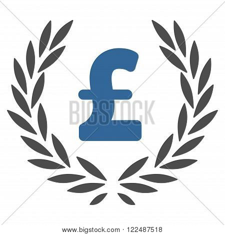 Pound Laurel Wreath vector icon. Pound Laurel Wreath icon symbol. Pound Laurel Wreath icon image. Pound Laurel Wreath icon picture. Pound Laurel Wreath pictogram. Flat pound laurel wreath icon.