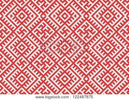 seamless red embroidered good like old handmade cross-stitch ethnic Ukraine pattern. Ukrainian ornament in vector