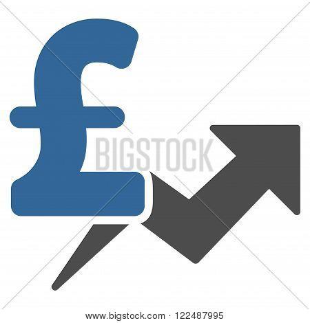 Pound Price Growth vector icon. Pound Price Growth icon symbol. Pound Price Growth icon image. Pound Price Growth icon picture. Pound Price Growth pictogram. Flat pound price growth icon.