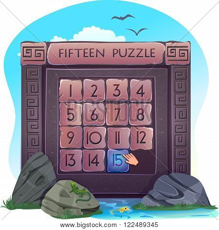 Sample of the game - Fifteen puzzle in the form of stone blocks on the background of nature. Vector illustration