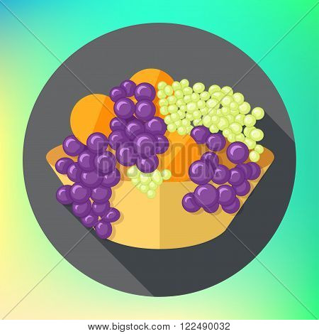 fruits tureen oranges and grapes flat long shadow style vector icon. Modern flat pictogram. Fruit bowl grapes bunch flat sign. Grapes and oranges symbol.