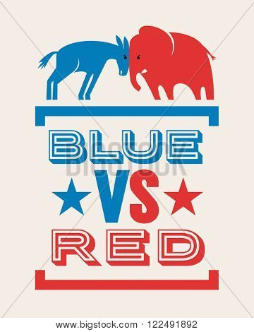 donkey and elephant blue versus red political election banner design