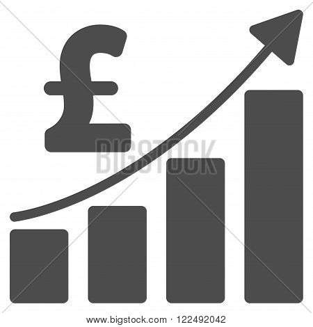 Pound Financial Bar Chart vector icon. Pound Financial Bar Chart icon symbol. Pound Financial Bar Chart icon image. Pound Financial Bar Chart icon picture. Pound Financial Bar Chart pictogram.