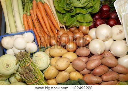 Close Up Of Many Colorful Vegetables On Market Stand. Big Assortment Of Organic Vegetables On Market