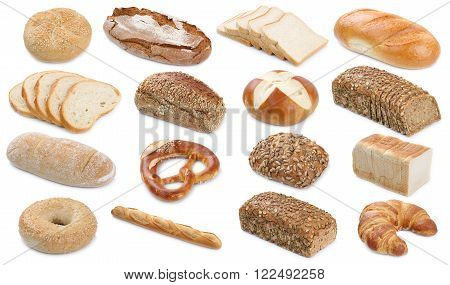 Collection Of Bread Breads Bagel Roll Toast Pretzel Isolated