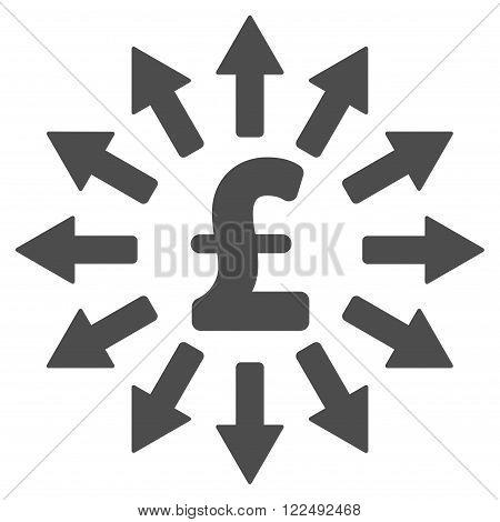 Pound Money Distribution vector icon. Pound Money Distribution icon symbol. Pound Money Distribution icon image. Pound Money Distribution icon picture. Pound Money Distribution pictogram.