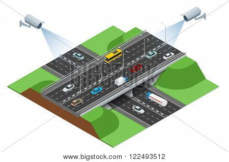 Road infographics with highways with city transport.  Flat 3d isometric consept of the city with highways. Flowing traffic.