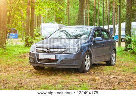 Car Opel Astra H Parked In Campsite. Hamina, Finland, Suomihamin