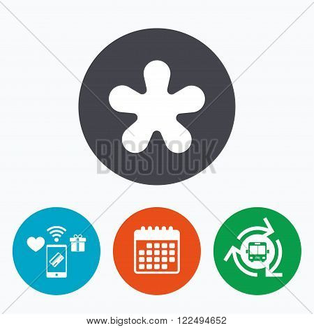 Asterisk round footnote sign icon. Star note symbol for more information. Mobile payments, calendar and wifi icons. Bus shuttle.
