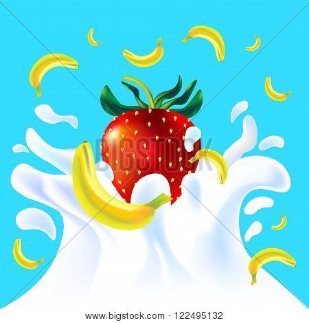 Banana And Strawberry In Yoghurt
