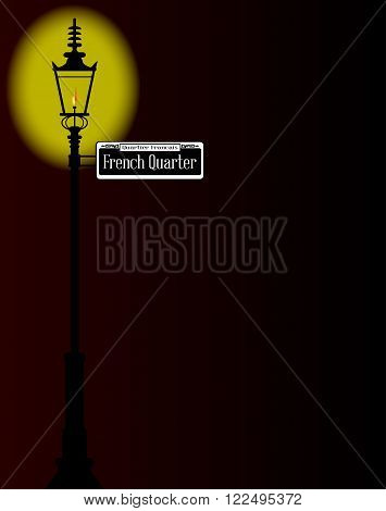 New Orleans street sign of French Quarter with old gas street light over a dark background.