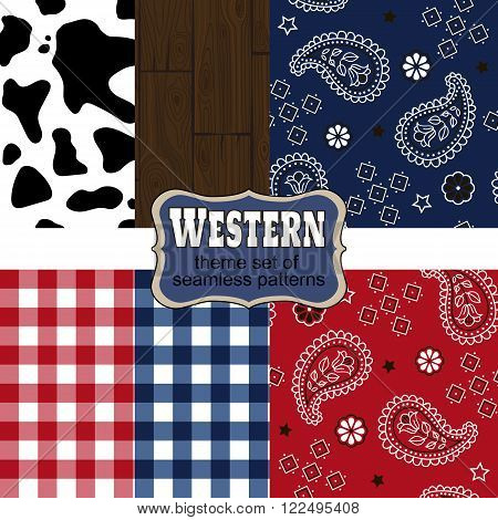 Wild West and Western style design theme set of seamless patterns with cowhides and bandana