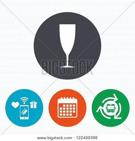 Glass of champagne sign icon. Sparkling wine. Celebration or banquet alcohol drink symbol. Mobile payments, calendar and wifi icons. Bus shuttle.