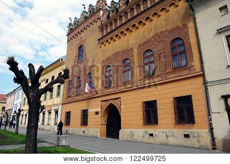 Levoca PRESOV SLOVAKIA - MAY 01 2014: Street with old historical buildings in Levoca town Slovakia.