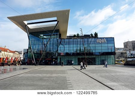 KOSICE, SLOVAKIA - OCTOBER 16, 2014: Modern building on the central place in Kosice city, Slovakia.
