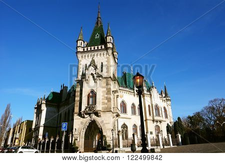 KOSICE SLOVAKIA - DECEMBER 04 2014: Old castle in central square of Kosice city. Slovakia.