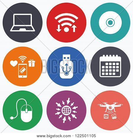 Wifi, mobile payments and drones icons. Notebook pc and Usb flash drive stick icons. Computer mouse and CD or DVD sign symbols. Calendar symbol.