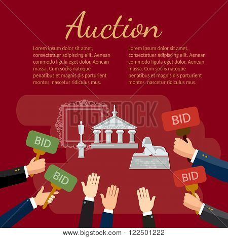 Auction  auctioneer background design flat vector illustration