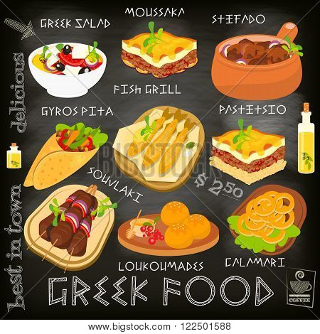 Greek Food Menu Card with Traditional Meal on Chalkboard Background. Greek Cuisine. Food Collection. Vector Illustration.