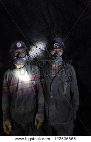 BARTIN,TURKEY-APRIL 5, 2014: Chinese mine workers began working in Turkey on April 5, 2014 in Bartin,Turkey.