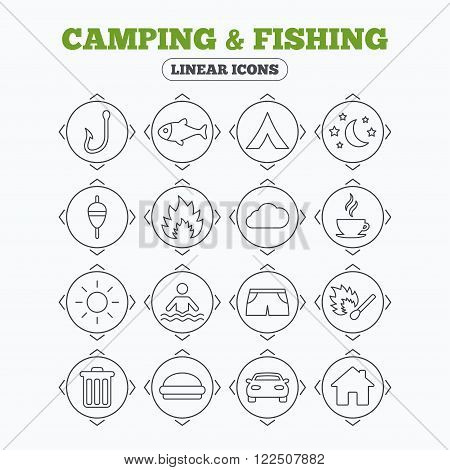 Linear icons with direction arrows. Camping and fishing icons. Tourist tent, fire and match symbols. Coffee cup and hamburger. Car and house. Fish, hook and float bobber thin outline signs. Circle buttons.