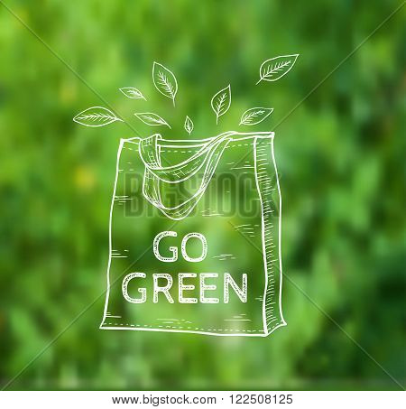 Reusable shopping eco bag on a green blurred background. Vector illustration.