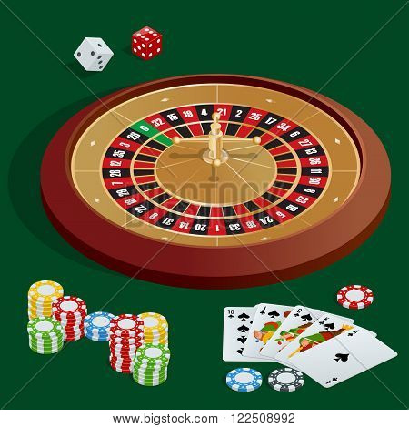 Casino concept. Casino background with cards, chips, craps and roulette. Flat 3d vector isometric illustration.