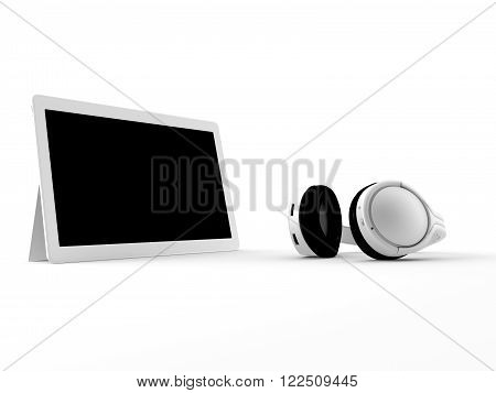 a 3d made white tablet  with a black screen for  isolation