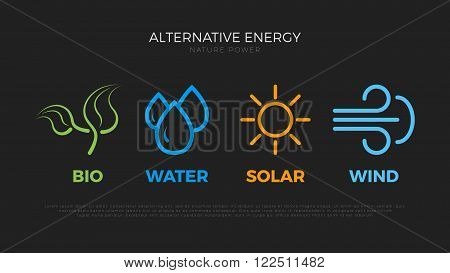 Alternative energy sources. Templates for renewable energy or ecology logo. Nature power symbols. Simple icons.