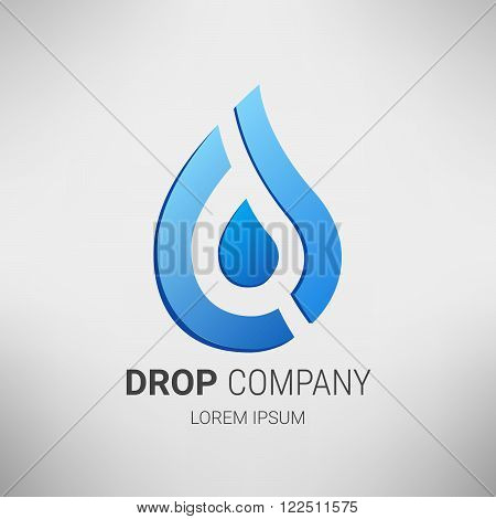 Vector logo design template. Water drop abstract vector logo design template. Creative shape Aqua droplet concept icon. Ecology Business tecnology.