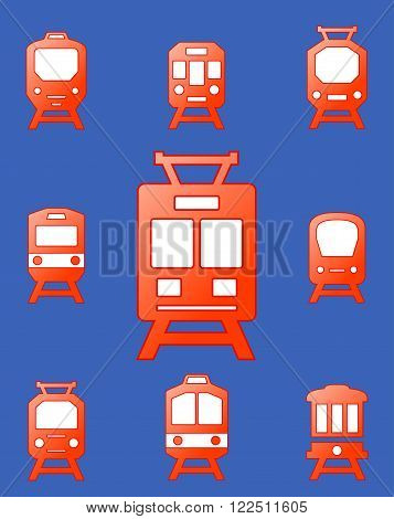 set red glossy trains on blue background