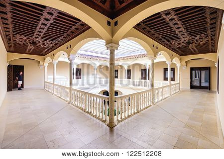 MALAGA, SPAIN - NOVEMBER 2, 2014: The courtyard of Museo Picasso Malaga which features works of Pablo Picasso. Picasso was born in the city of Malaga.