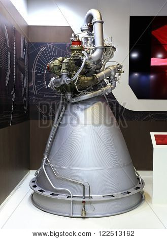 MOSCOW REGION - AUGUST 27: Liquid rocket engine with external hydraulic turbine external pipes aggregates and the combustion chamber on August  27, 2015 in Moscow region