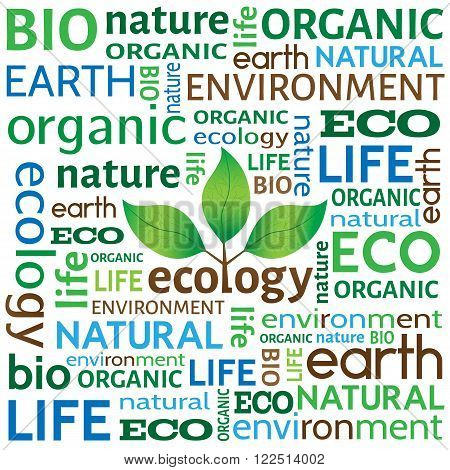 Ecological or environmental concept or background. Different words related to ecology with tree with leaves logo in the middle.