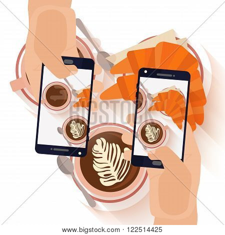 Hands making a smartphone photo of breakfast coffee capuccino and croissant. Modern trend taking pictures of food in restaurants.  Flat design vector illustration.