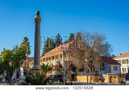 NICOSIA CYPRUS - DECEMBER 3: Venetian Column at the Sarayonu Square (Ataturk Square) on December 3 2015 in Nicosia.