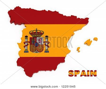 Spain, Map with Flag, Isolated on White with Clipping Path