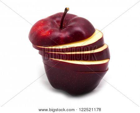 Sliced dark red apple over white background