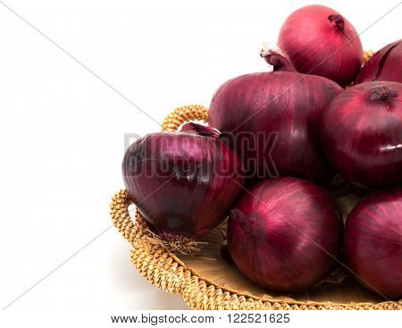 Red onions in a basket