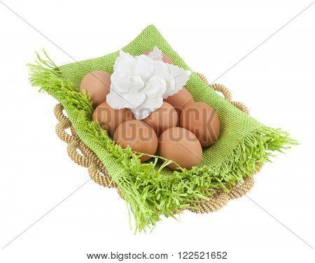 Easter eggs in brown basket