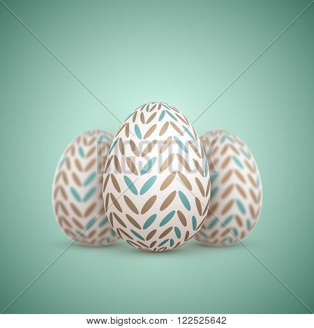 Illustration of Realistic Vector Easter Egg. Painted Vector Egg Set with Shallow Depth of Field DOF Effect